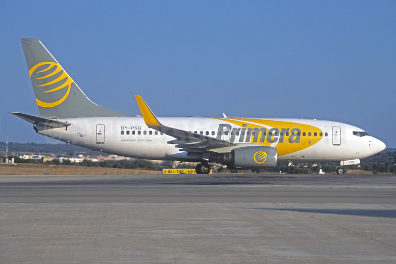 Primera Air (Scandinavia) Boeing 737-7BX WL OY-PSG (msn 30743) PMI (Jacques Guillem Collection). Image: 926692.