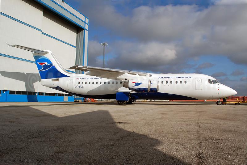 Atlantic Airways-Faroe Islands BAe RJ100 OY-RCC (msn E3357) MAN (Nik French). Image: 907966.