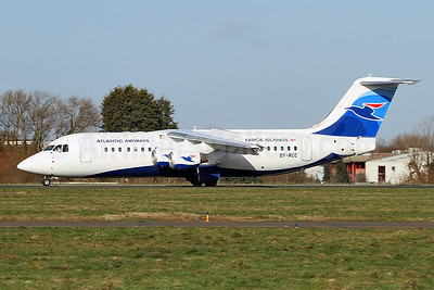 Atlantic Airways-Faroe Islands BAe RJ100 OY-RCC (msn E3357) SEN (Keith Burton). Image: 910920.