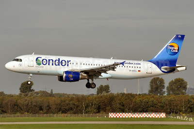 Condor Flugdienst-Thomas Cook Airbus A320-212 D-AICL (msn 1437) (green turtle) DUS (Karl Cornil). Image: 913902.