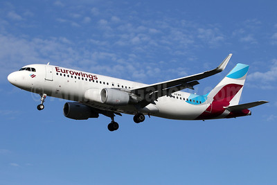 Eurowings Airbus A320-214 WL D-AEWP (msn 7377) LHR (SPA). Image: 937400.