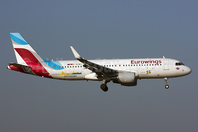 Eurowings Airbus A320-214 WL D-AEWG (msn 7121) (Visit Sweden - Goteborg) LHR (SPA). Image: 936931.