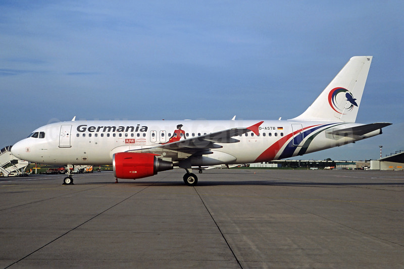 Germania Fluggesellschaft Airbus A319-112 D-ASTB (msn 4691) (Gambia Bird colors) (Jacques Guillem Collection). Image: 937666.
