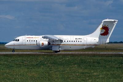 Hamburg Airlines (Malmo Aviation) BAe 146-200 SE-DRD (msn E2094) (Malmo Aviation colors) DUB (SM Fitzwilliams Collection). Image: 945400.