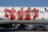 FCB players on the fuselage are (from left to right): Joshua Kimmich, Franck Ribery, Thomas Müller, Javi Martinez and Arjen Robben