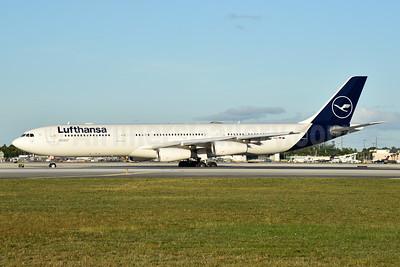 Lufthansa Airbus A340-313 D-AIGU (msn 321)  MIA (Bruce Drum). Image: 105233.