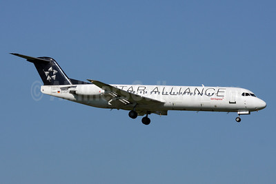 OLT Express (Germany) Fokker F.28 Mk. 0100 D-AGPH (msn 11308) (Star Alliance) ZRH (Andi Hiltl). Image: 910829.
