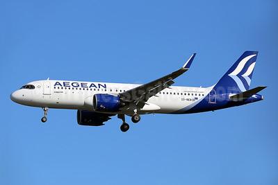 Aegean Airlines Airbus A320-271N WL SX-NEB (msn 9514) LHR (Keith Burton). Image: 954958.