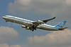 Olympic Airways (1st) Airbus A340-313 SX-DFC (msn 280) LHR (Keith Burton). Image: 900607.