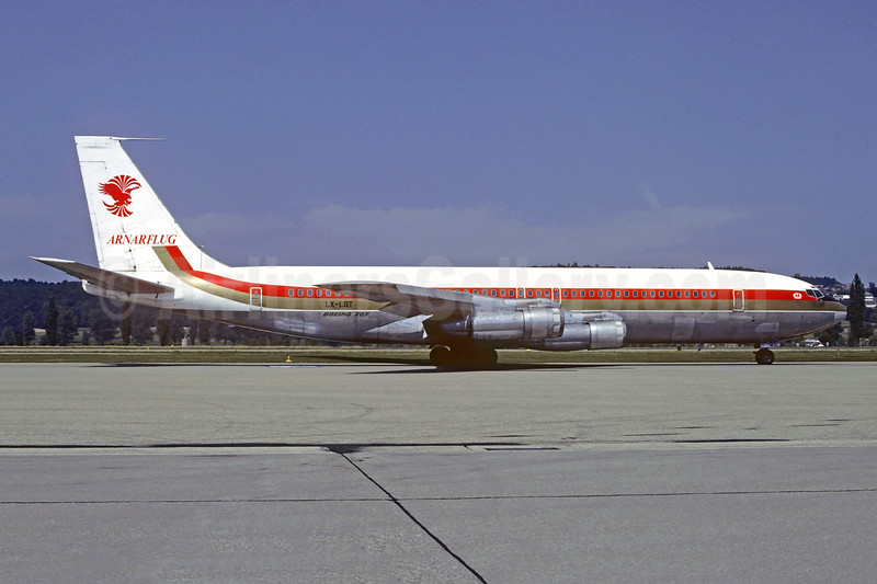 Arnarflug (1st) (Eagle Air) (Iceland) Boeing 707-344C LX-LGT (msn 19706) (Alia colors) ZRH (Christian Volpati Collection). Image: 947335.