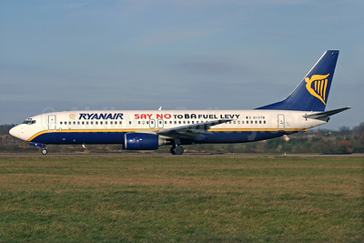 Ryanair Boeing 737-8AS WL EI-CTB (msn 29937) (Say No to BA Fuel Levy) LTN (Antony J. Best). Image: 902571.