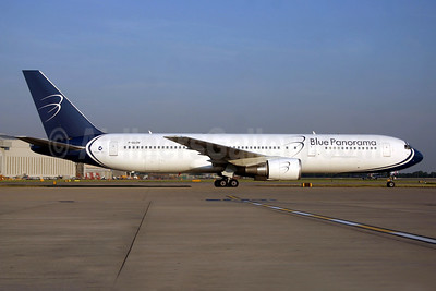 Blue Panorama Airlines Boeing 767-304 ER F-GLOV (msn 28039) LHR (SPA). Image: 940466.