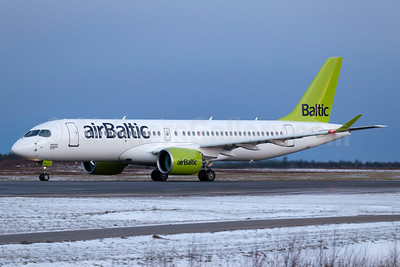 airBaltic's first Bombardier CS300 on its delivery flight via Stockholm