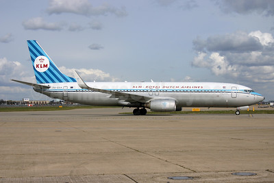 KLM Royal Dutch Airlines Boeing 737-8K2 WL PH-BXA (msn 29131) (1959 retrojet) LHR (SPA). Image: 936481.