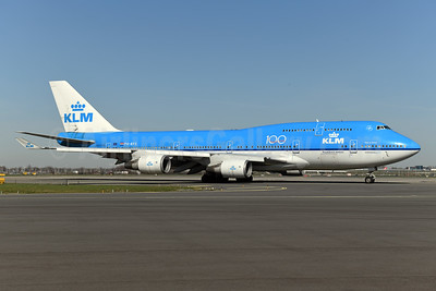 KLM Royal Dutch Airlines Boeing 747-406 PH-BFS (msn 28195) (100 Years) AMS (Ton Jochems). Image: 949483.