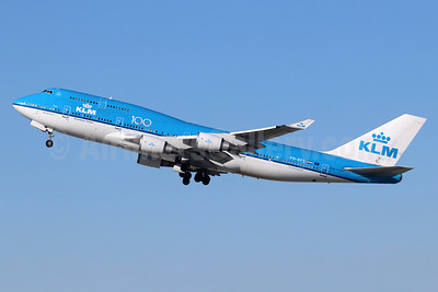 KLM Royal Dutch Airlines Boeing 747-406 PH-BFS (msn 28195) (100 Years) LAX (Michael B. Ing). Image: 949392.
