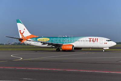 "Leased from Sunwing on April 17, 2019 in ""sunny cars"" promotional livery"