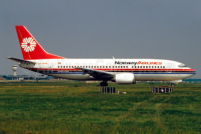 Norway Airlines Boeing 737-33A LN-NOS (msn 23830) LGW (SM Fitzwilliams Collection). Image: 910980.