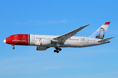 Norwegian Air Shuttle (Norwegian.com) (Norwegian Long Haul) Boeing 787-8 Dreamliner EI-LNG (msn 35314) (Edvard Munch, Norwegian Artist) LAX (Michael B. Ing). Image: 927102.