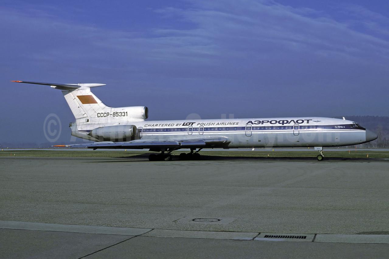 Aeroflot Russian International Airlines-LOT Polish Airlines Tupolev Tu-154B-2 CCCP-85331 (msn 79A331) ZRH (Rolf Wallner). Image: 913582.
