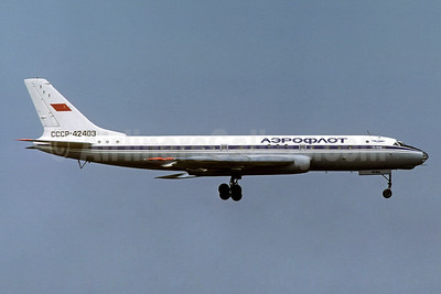 Aeroflot Russian International Airlines Tupolev Tu-104B CCCP-42403 (msn 820105) LBG (Jacques Guillem Collection). Image: 940531.