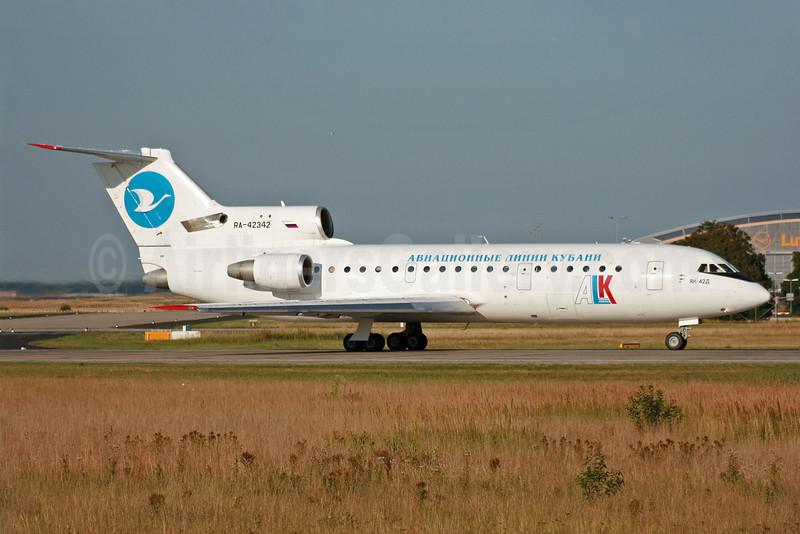 Kuban Airlines-ALK Yakolev Yak-42D RA-42342 (msn 4520421706302) FRA (Pascal Simon). Image: 904848.