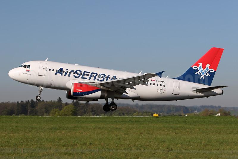 Air Serbia Airbus A319-132 YU-APJ (msn 1159) (90 Years) ZRH (Andi Hiltl). Image: 941646.