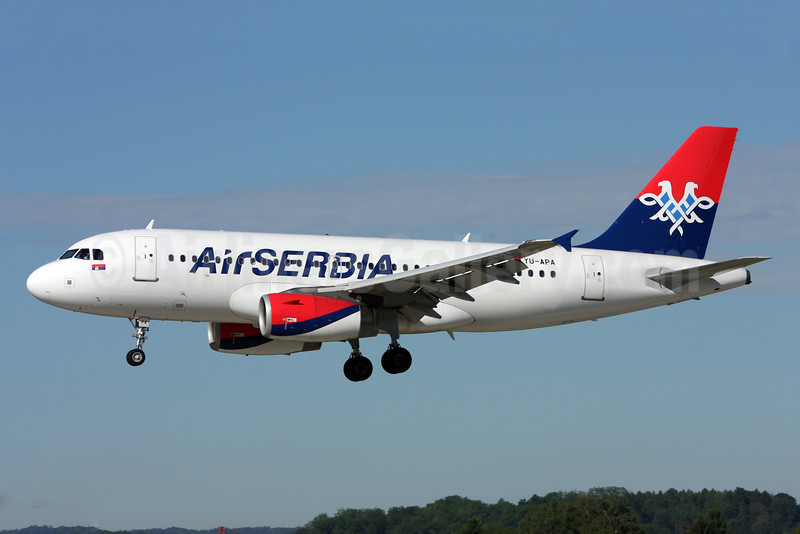 Air Serbia Airbus A319-132 YU-APA (msn 2277) ZRH (Andi Hiltl). Image: 922861.