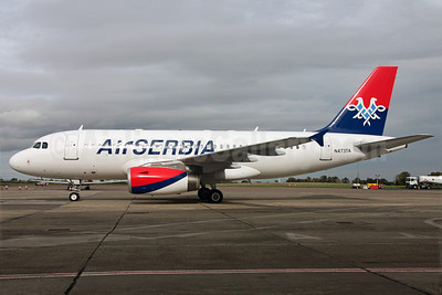 Air Serbia Airbus A319-132 N473TA (A6-SAA) (msn 1140) DUB (Greenwing). Image: 913807.
