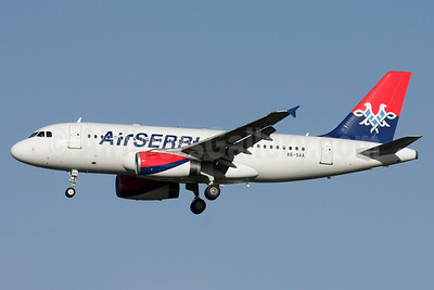 Air Serbia Airbus A319-132 A6-SAA (msn 1140) LHR (David Apps). Image: 921113.