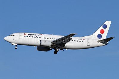 Jat Airways Boeing 737-3H9 YU-ANV (msn 24140) LHR (Keith Burton). Image: 911810.