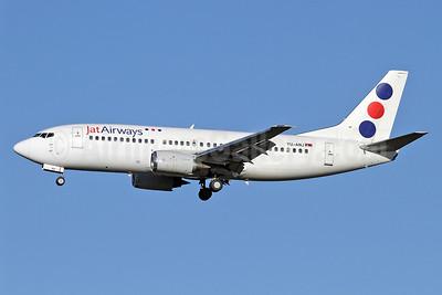 Jat Airways Boeing 737-3H9 YU-ANJ (msn 23714) LHR (Keith Burton). Image: 922219.