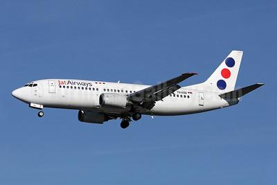 Jat Airways Boeing 737-3H9 YU-AND (msn 23329) LHR (Keith Burton). Image: 900369.
