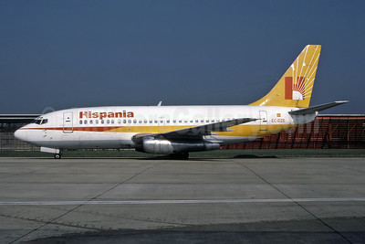 Hispania Líneas Aéreas Boeing 737-248C EC-DZB (msn 20218) LGW (Vernon Murphy - Bruce Drum Collection). Image: 946997.