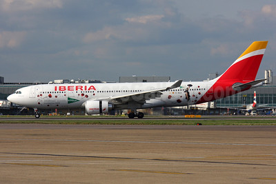 Iberia Airbus A330-202 EC-MJA (msn 1700) (For Shopping Lovers - Greetings from Spain) LHR. Image: 937425.