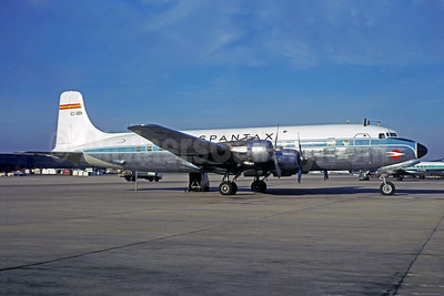 Spantax Douglas DC-6B Swingtail EC-BBK (msn 44434) LGW (Jacques Guillem Collection). Image: 942839.