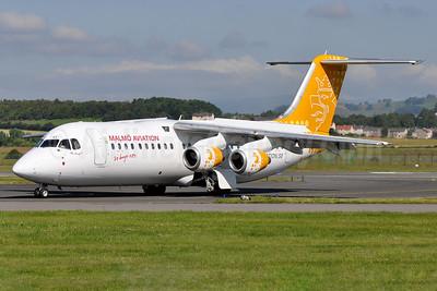 Malmö Aviation BAe RJ100 SE-DST (msn E3247) GLA (Robbie Shaw). Image: 925247.