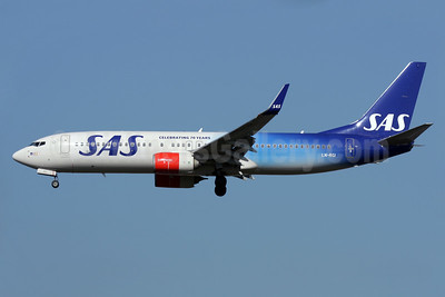 SAS (Scandinavian Airlines) Boeing 737-86N WL LN-RGI (msn 35646) (Celebrating 70 Years) LHR (Antony J. Best).938674.