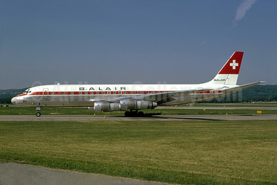 Balair McDonnell Douglas DC-8F-55 Jet Trader HB-IDU (msn 45817) (Swissair colors) ZRH (Bruce Drum Collection). Image: 950220.