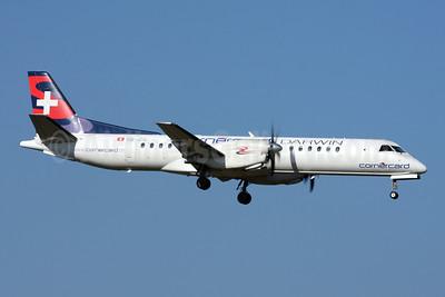 Darwin Airline SAAB 2000 HB-IZG (msn 010) (Cornercard) ZRH (Andi Hiltl). Image: 908663.