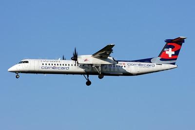 Darwin Airline Bombardier DHC-8-402 (Q400) HB-JQB (msn 4175) (Cornercard) ZRH (Andi Hiltl). Image: 908664.
