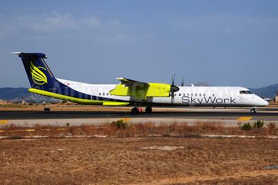 SkyWork Airlines Bombardier DHC-8-402 (Q400) HB-JGA (msn 4198) PMI (Ton Jochems). Image: 953452.