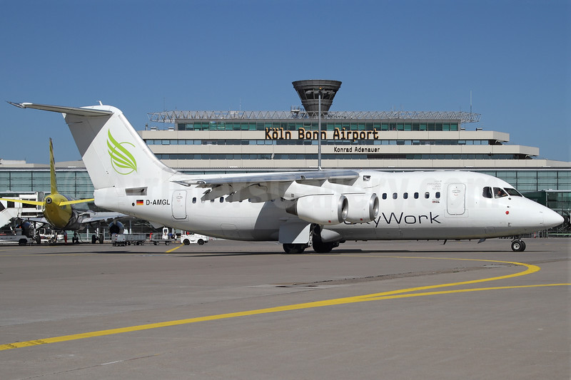 SkyWork Airlines (WDL) BAe 146-200A D-AMGL (msn E2055) CGN (Rainer Bexten). Image: 906563.