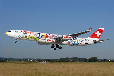 Swiss International Air Lines Airbus A340-313 HB-JMJ (msn 150) (San Francisco-left side) ZRH (Rolf Wallner). Image: 905695.