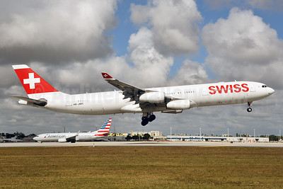 Swiss International Air Lines Airbus A340-313 HB-JMH (msn 585) MIA (Bruce Drum). Image: 104582.
