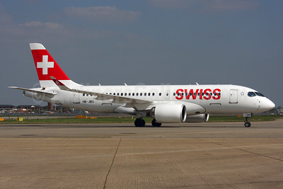 Swiss International Air Lines Bombardier CS100 (BD-500-1A10) HB-JBD (msn 50013) LHR. Image: 937463.