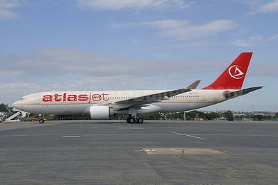 Atlasjet Airlines Airbus A330-223 TC-ETK (msn 358) (Saudi Arabian fuselage) BNE (Peter Gates). Image: 907384.