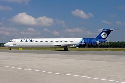UM Air (Ukrainian-Mediterranean Airlines) McDonnell Douglas DC-9-82 (MD-82) UR-CFE (msn 49222) (TransMeridian colors) NUE (Gunter Mayer). Image: 950587.