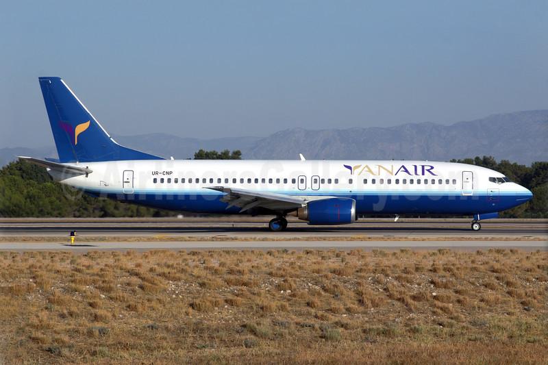 YanAir Boeing 737-4Y0 UR-CNP (msn 23980) (United Airlines colors) AYT (Antony J. Best). Image: 939236.
