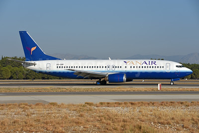 YanAir Boeing 737-4Y0 UR-CNP (msn 23980) (United Airlines colors) AYT (Ton Jochems). Image: 939815.